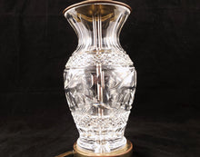 VINTAGE WATERFORD CRYSTAL GLASS TABLE LAMP, DIAMOND THUMBPRINT/BULLSEYE, SWIRL