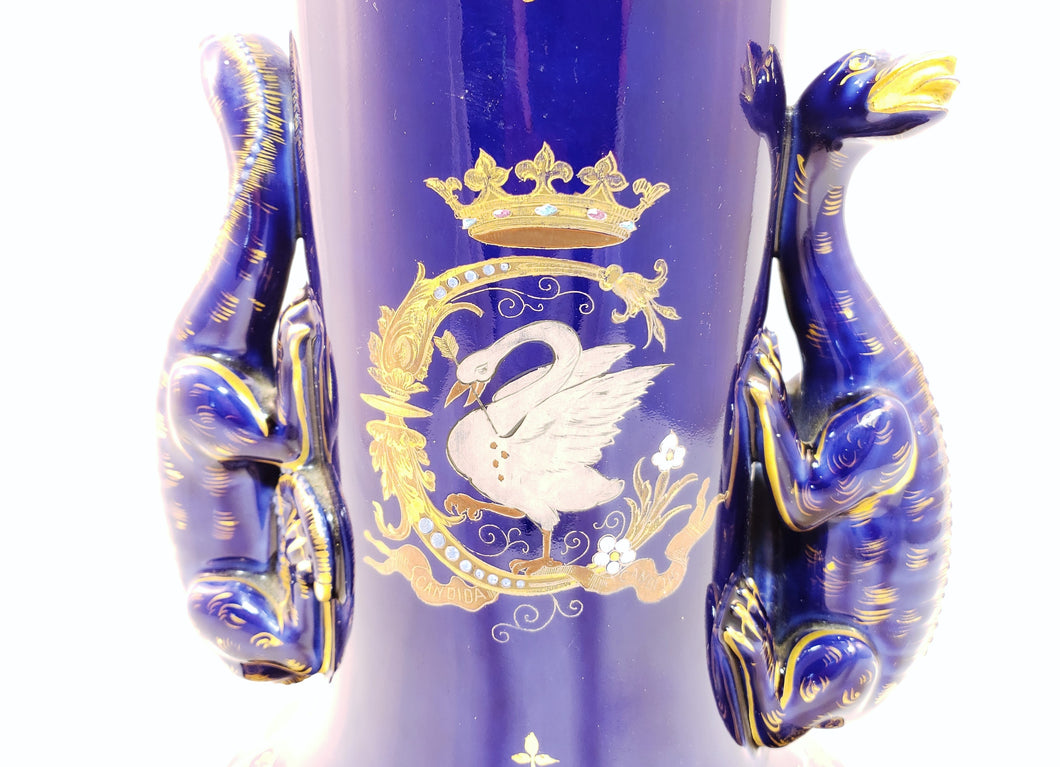19th CENTURY GUSTAVE ASCH FRENCH PORCELAIN COBALT VASE, GRAND TOUR, LIZARD/SWAN - Gallery Antiques