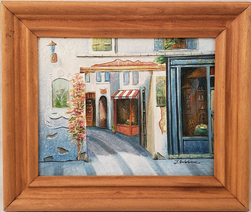 LA RAPIERE RESTAURANT FRANCE FRENCH STREET SCENE PAINTING SIGNED J. HOBSON
