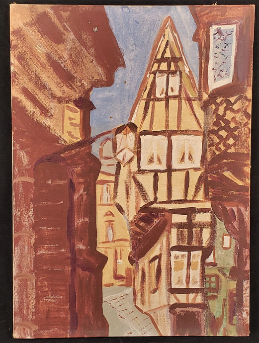 VINTAGE PAINTING OF BERNKASTEL-KUES GERMANY BY M. KENNEDY STREET SCENE