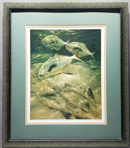 "DIANE PEEBLES ""THE OPPORTUNIST"" SIGNED PRINT 166/250 FRAMED PERMIT FISH STINGRAY"