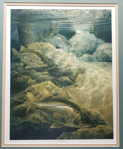 "DIANE PEEBLES ""TIDE WATCH"" SIGNED PRINT 214/250 FRAMED SNOOK"
