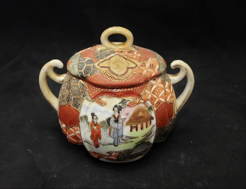 ANTIQUE/VINTAGE DOUBLE HANDLED ASIAN JAR W/ GEISHA WOMEN SIGNED