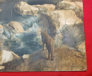 ORIGINAL 1967 MAX D. STANDLEY OIL ON PANEL PAINTING RIVER SCENE W/ COYOTE