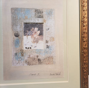 "LARGE FRAMED ANNABEL HEWITT ""FLOWERS II"" ORIGINAL MIXED MEDIA 1997 COA"