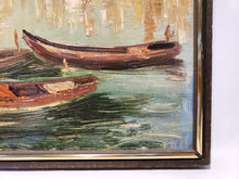 BEAUTIFUL VENETIAN VENICE ITALY CANAL SCENE W/ GONDOLAS OIL ON BOARD PAINTING