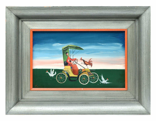 CARLO CANEVARI OIL ON BOARD SIGNED PAINTING BISHOP DRIVING W/ CHICKENS, LARGE
