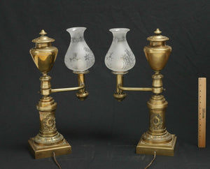 PAIR OF MESSENGER & SONS ARGAND LAMPS FLORAL & FOLIATE GLASS GLOBES