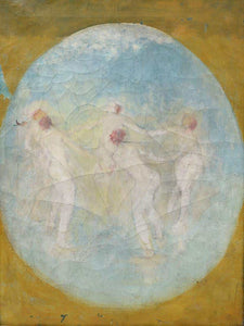 "AFTER ARTHUR BOWEN DAVIES (UNSIGNED), OIL ON CANVAS ""FROLICKING NUDES"""