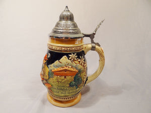 "ERKHARDT & ENGLER LIDDED BEER STEIN .5 LITER ""A CHEERFUL SONG RAISES THE MIND"" - Gallery Antiques"