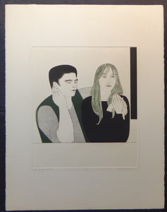 "WILL/WILLIAM BARNET ""THE YOUNG COUPLE"" SIGNED/NUMBERED COLOR ETCHING & AQUATINT"