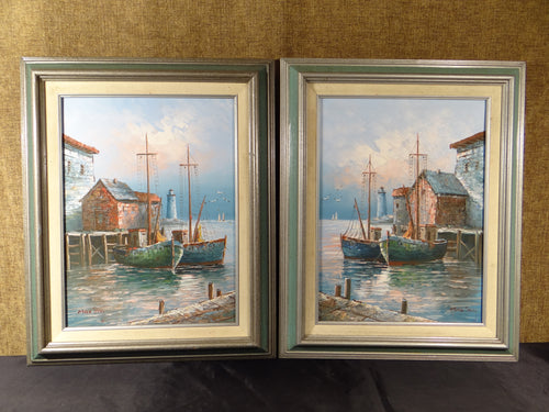 PAIR OF SIGNED MAX SAVY HARBOR NAUTICAL BOAT SCENE OIL ON CANVAS PAINTINGS