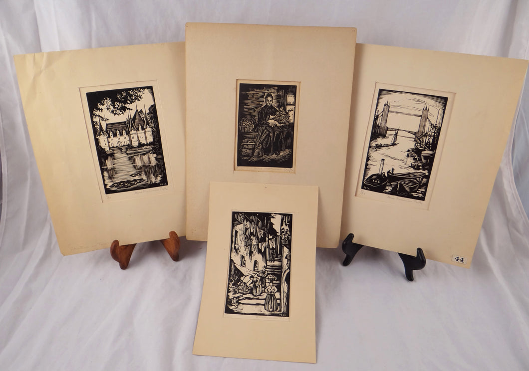 LOT OF 4 ANTIQUE ANNE MERRIMAN PECK WOODCUT ENGRAVINGS FROM BOOKS LIMITED ED