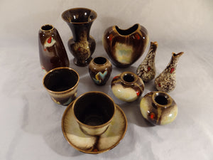 11 PIECES OF CARSTEN TONNIESHOF WEST GERMANY MID CENTURY POTTERY, PEACOCK FEATHER - Gallery Antiques