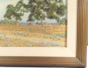 ORIGINAL SIGNED PERCY GRAY WATERCOLOR CALIFORNIA LANDSCAPE w/ EUCALYPTUS GROVE