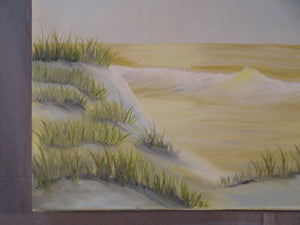"BEAUTIFUL BEACH SCENE OIL ON CANVAS PAINTING SIGNED MARGE BRANNARS 20"" X 24"""