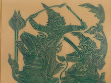 VINTAGE THAI RICE PAPER RUBBING OF GODS WARRIORS RIDING A CHARIOT