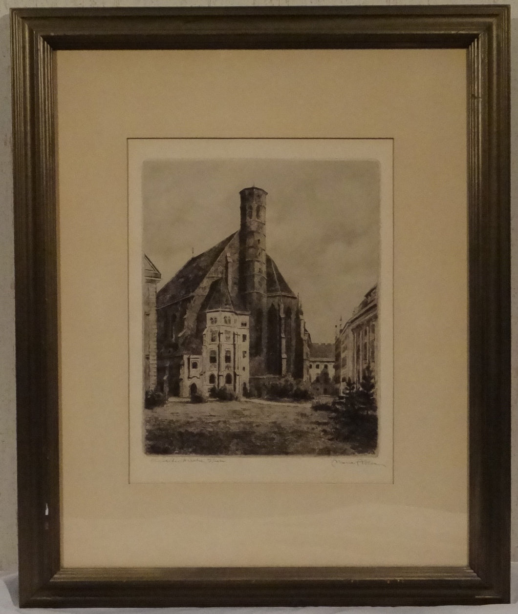 FRAMED ETCHING OF A CHURCH BY VIENNA LISTED ARTIST MARIE ADLER SIGNED - Gallery Antiques