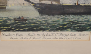VINTAGE LITHOGRAPH BY FITZ HUGH LANE, SOUTHERN CROSS, BOSTON HARBOR CLIPPER SHIP