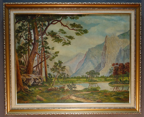 BREITENBACH 1945 OIL ON CANVAS LANDSCAPE SCENE MOUNTAINS/RIVER