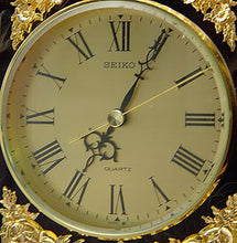 "LARGE 18"" TALL FRENCH STYLE SEIKO GILDED BRASS MANTEL CLOCK WITH FAUX MARBLE"