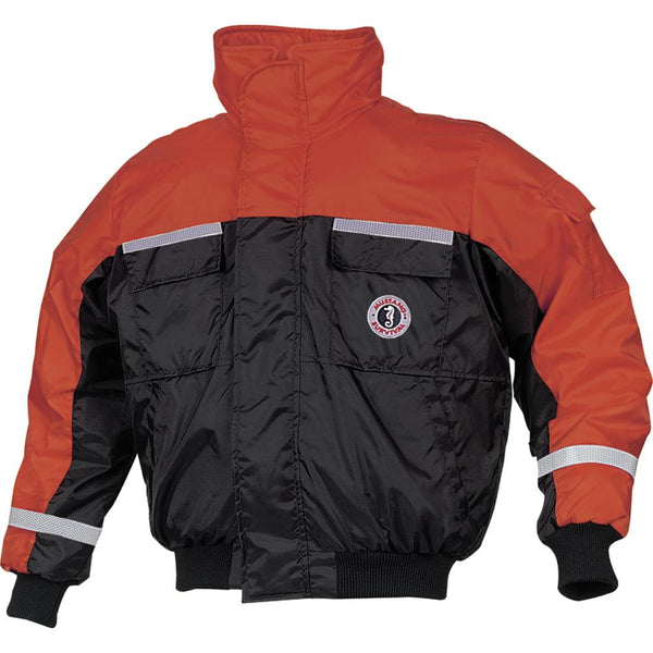Mustang Classic Bomber Jacket w-SOLAS Tape - Large - Orange-Black