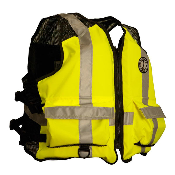 Mustang High Visibility Industrial Mesh Vest - L-XL - Yellow-Black