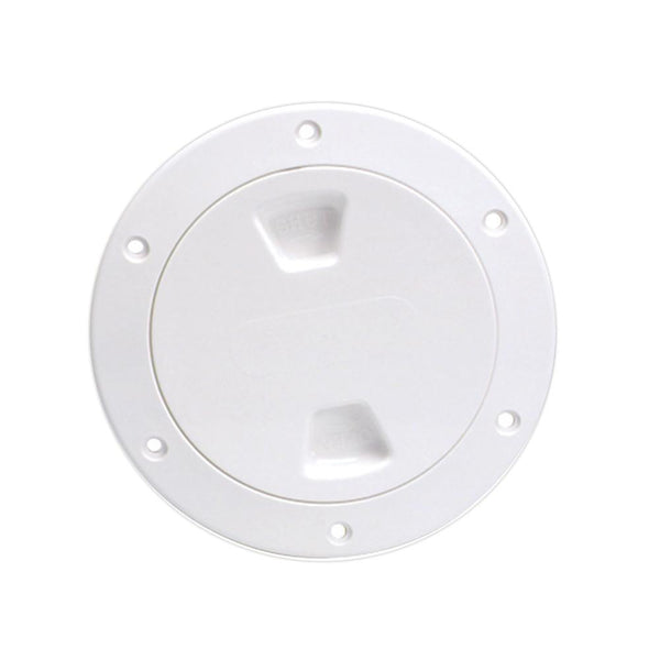 "Beckson 4"" Smooth Center Screw-Out Deck Plate - White"