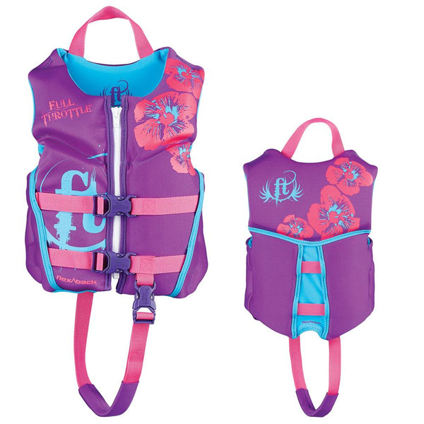 Full Throttle Hinged Rapid-Dry Flex-Back Life Vest - Child 30-50lbs - Purple