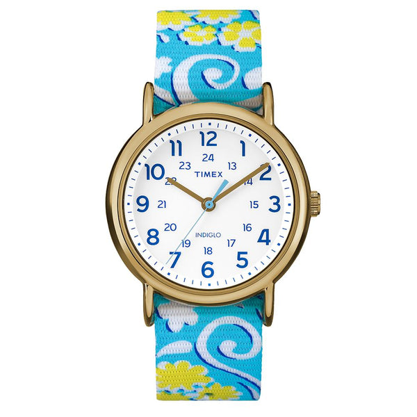 Timex Weekender Full-Size Watch - Reversible Floral Swirl-White