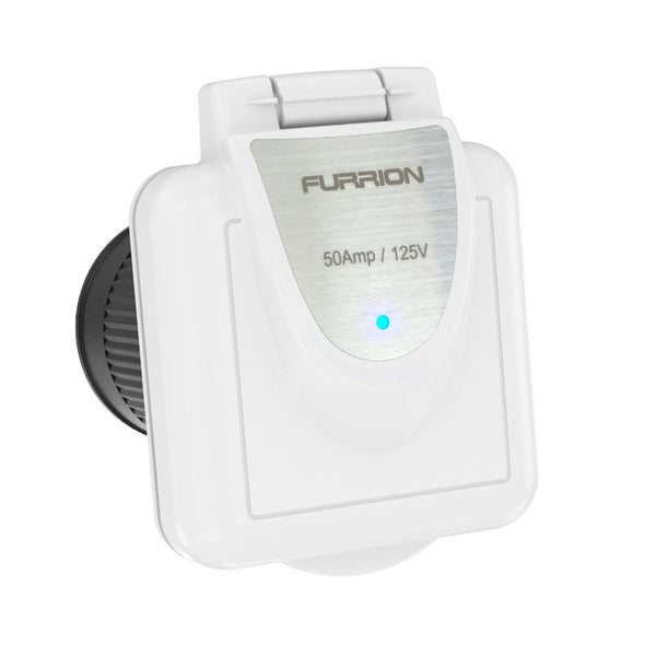 Furrion 50A 125V Shore Power Inlet Square White W-LED