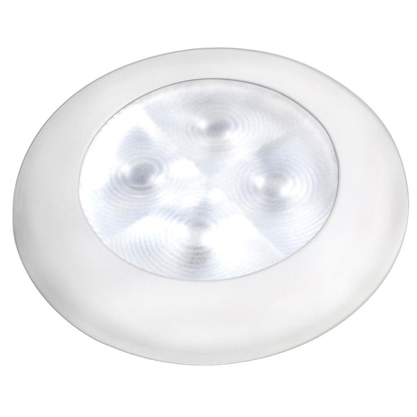 Hella Marine Slim Line LED 'Enhanced Brightness' Round Courtesy Lamp - White LED - White Plastic Bezel - 12V