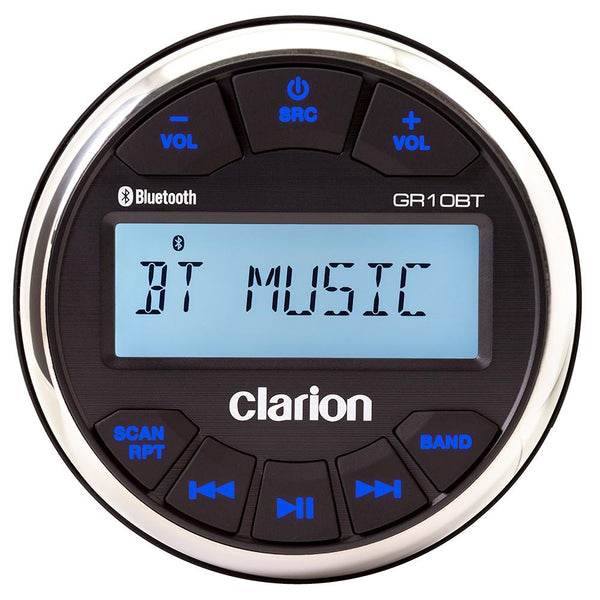 "Clarion GR10BT Digital Media Receiver USB-MP3-WMA Bluetooth® 3"" Gauge, IPX5 Face, AM-FM-NOAA, 50W x 4"