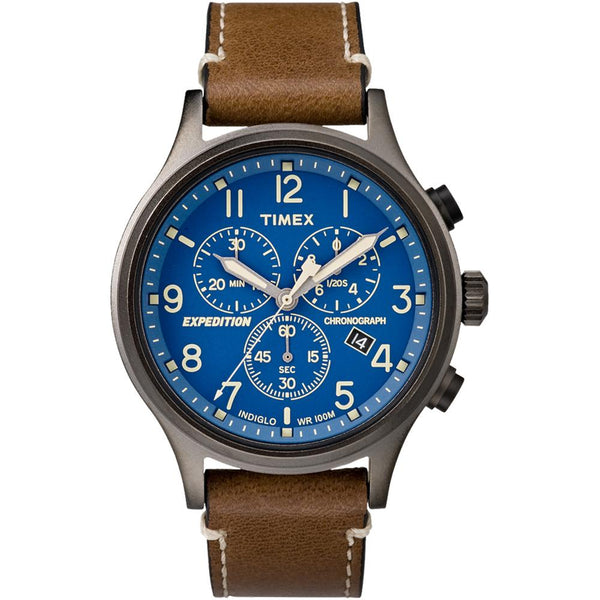 Timex Expedition® Scout™ Chronograph Leather Watch - Blue Dial