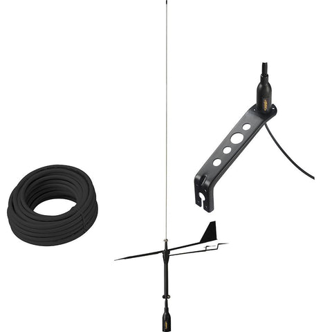 Glomex Black Swan VHF Antenna w-Wind Indicator & 66' Coax Cable