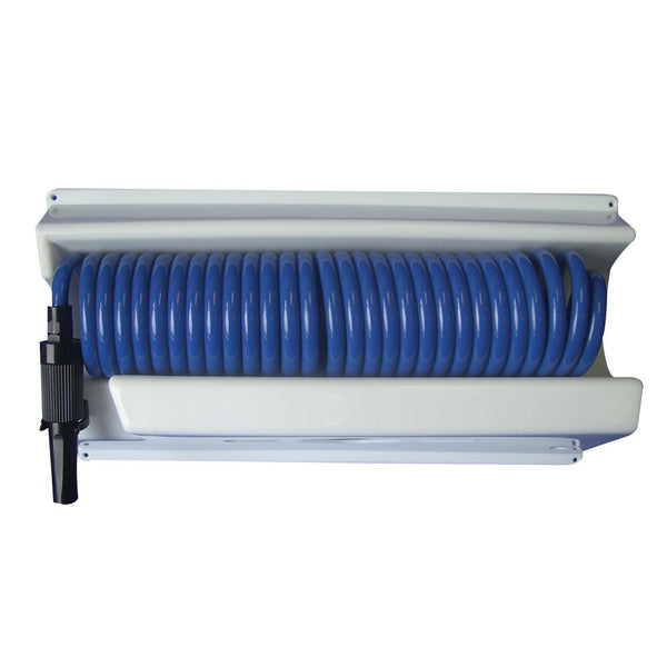 Whitecap 25' Blue Coiled Hose w-Mounting Case