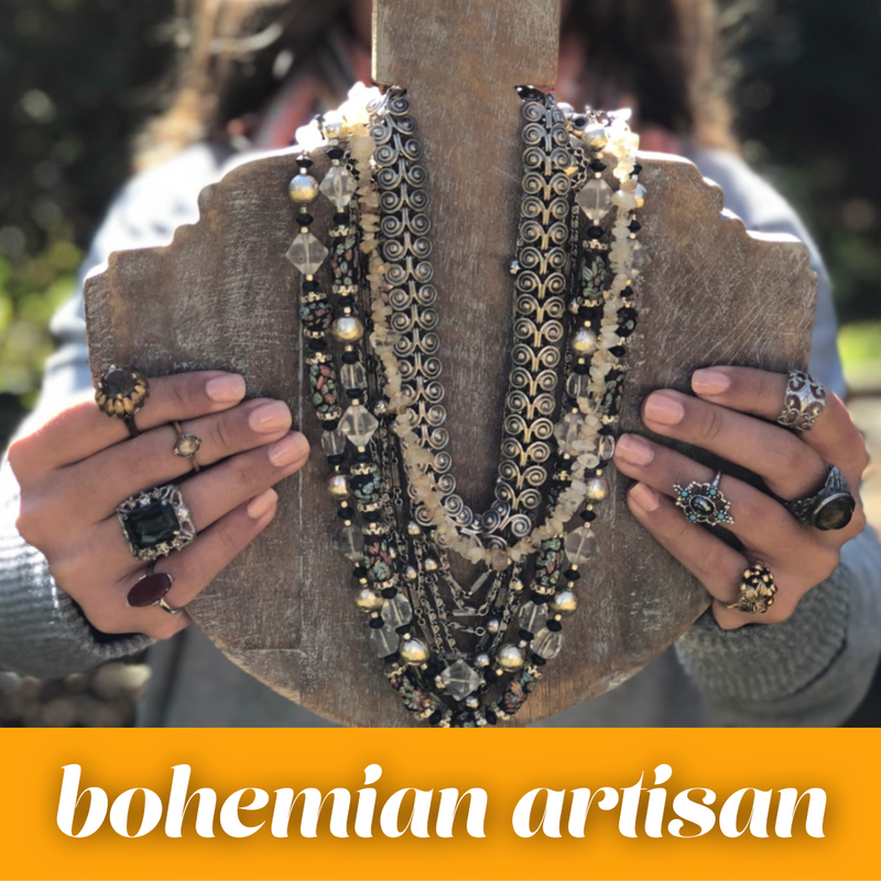 boho bohemian vintage jewelry vintage pearls crystals and rhinestones necklaces brooches earring rings and bracelets