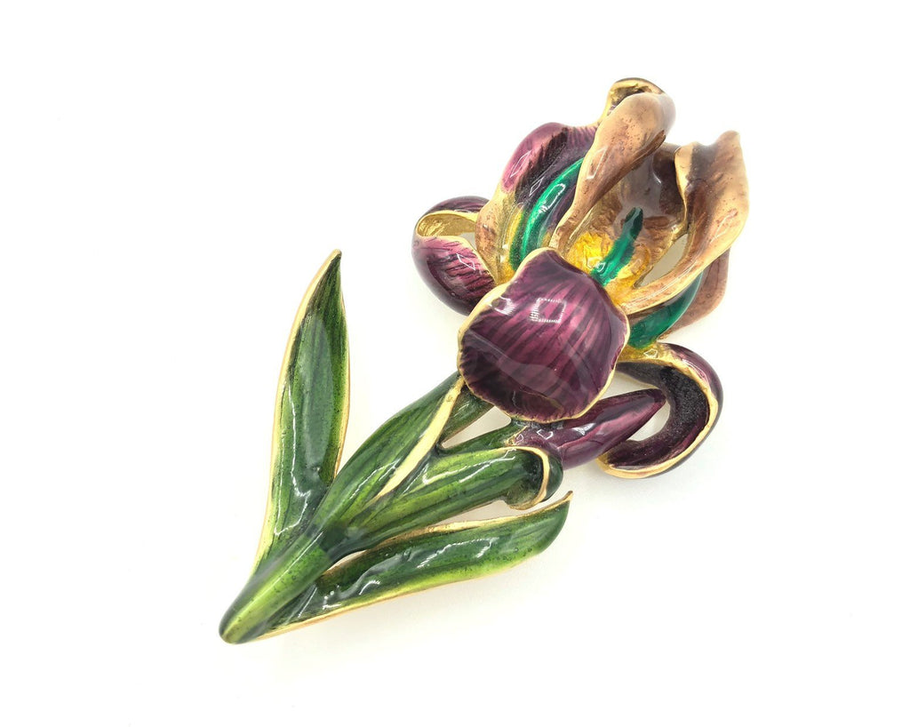 Vintage MFA Museum of Fine Arts Purple Iris Flower Brooch