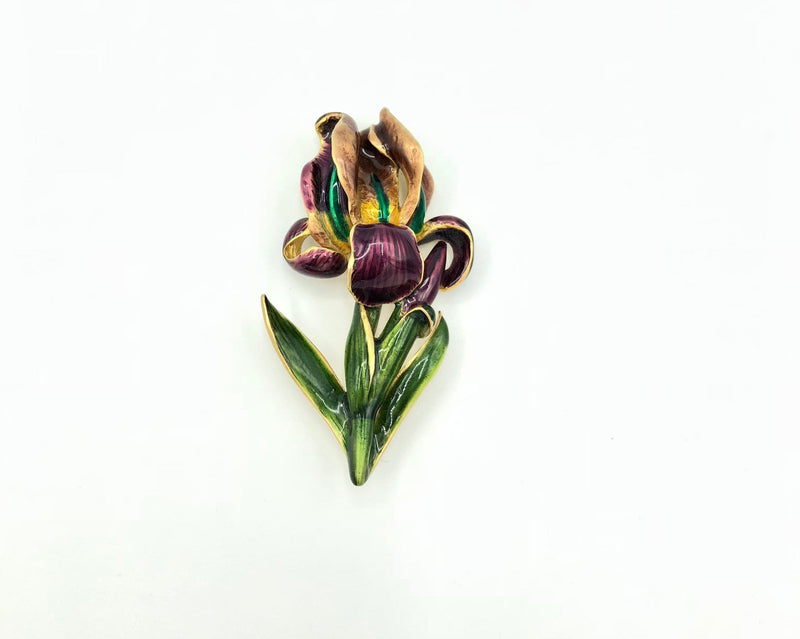 Vintage MFA Museum of Fine Arts Purple Iris Flower Brooch-Sustainable Fashion with Vintage Style-Trending Designer Fashion-24 Wishes