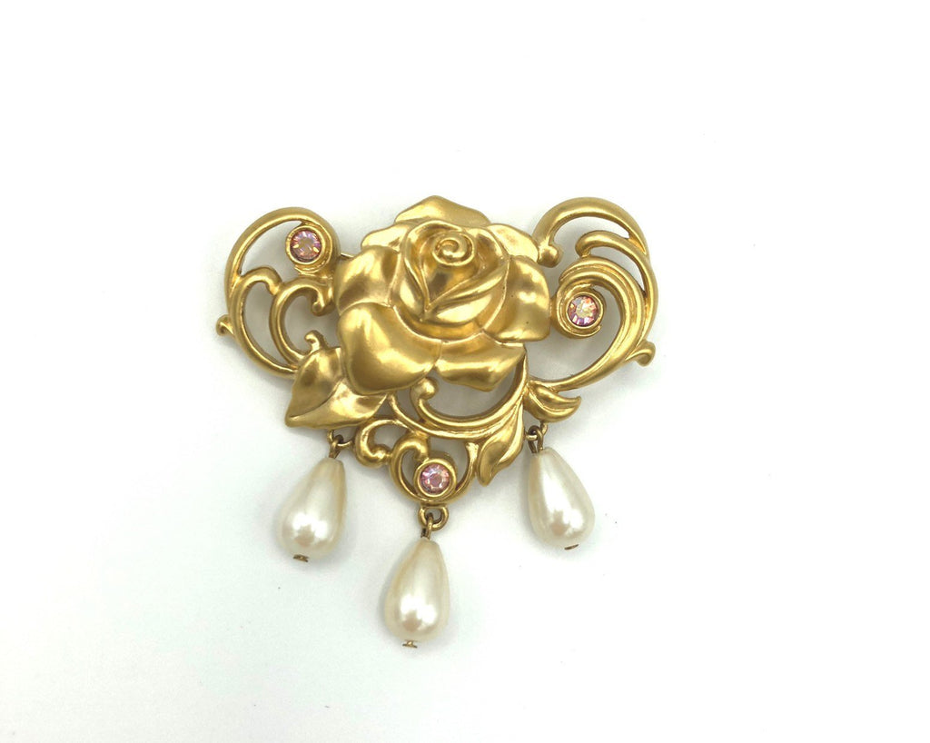 Vintage Gold Avon Victorian Rose Pearl Brooch