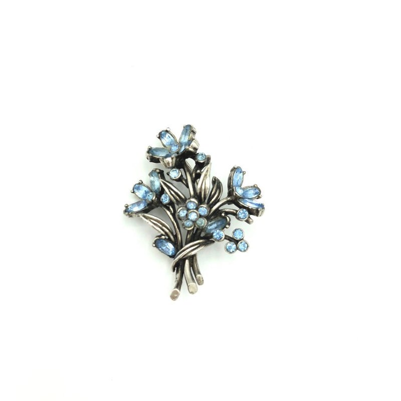 Vintage Blue Rhinestone Flower Bouquet Hollycraft Brooch