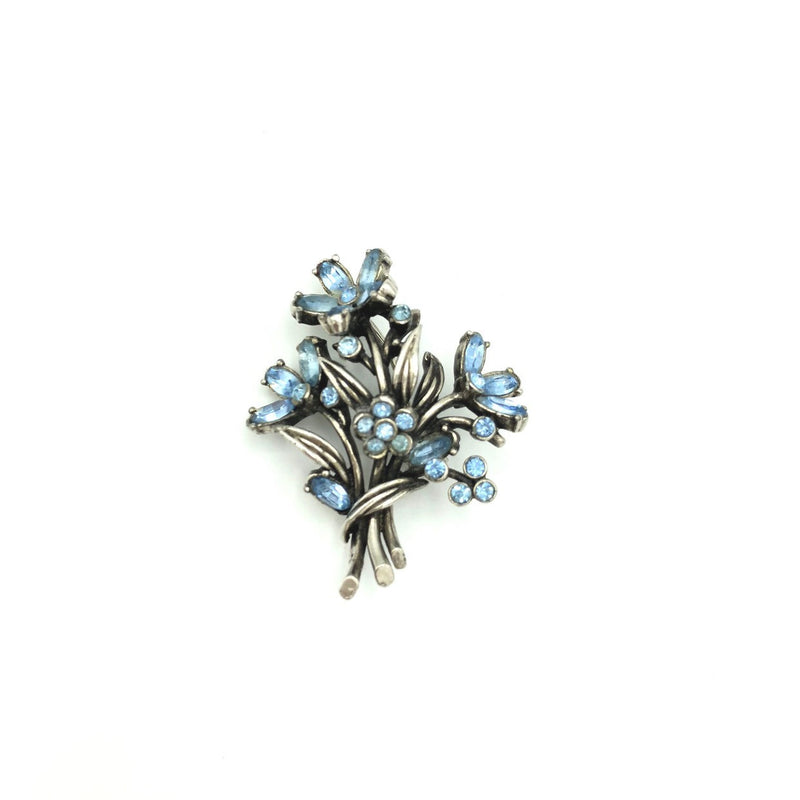 Vintage Blue Rhinestone Flower Bouquet Hollycraft Brooch-Sustainable Fashion with Vintage Style-Trending Designer Fashion-24 Wishes