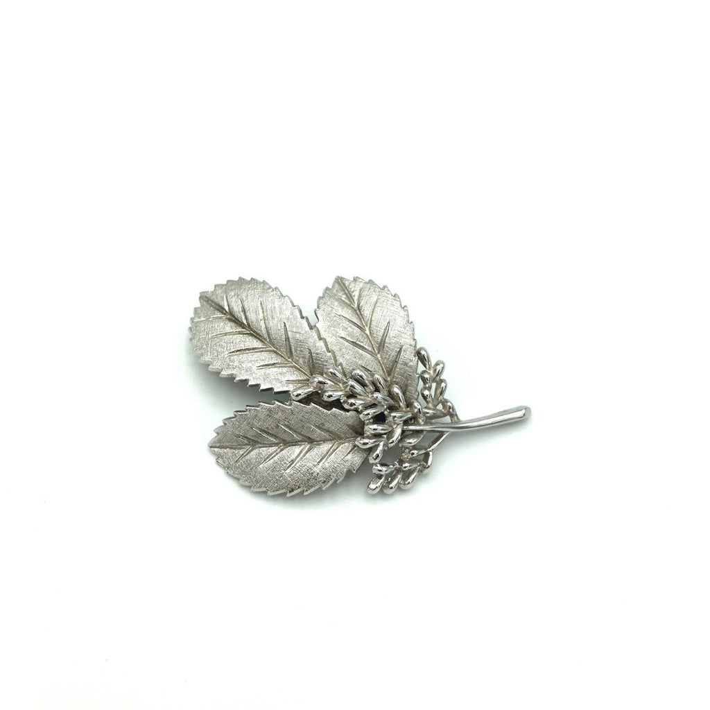 Vintage Silver Crown Trifari Leaf Pin Brooch-Sustainable Fashion with Vintage Style-Trending Designer Fashion-24 Wishes