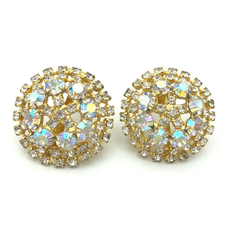 Vintage Aurora Borealis Rhinestone Round Medallion Earrings