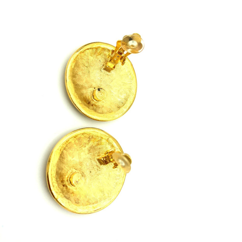Anne Klein Gold Large Lion Logo Medallion Earrings