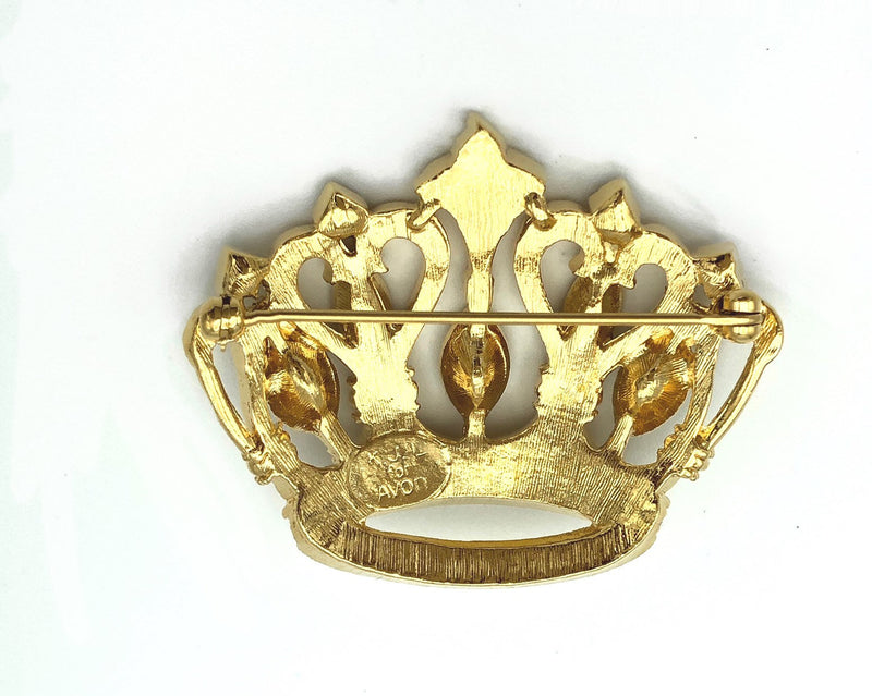 update alt-text with template Kenneth Jay Lane Rhinestone Gold Crown Brooch-Brooches & Pins-Kenneth Jay Lane-[trending designer jewelry]-[kenneth jay lane KJL jewelry]-[Sustainable Fashion]