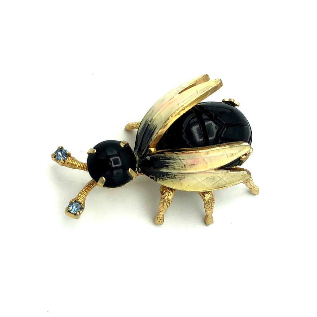 Vintage Warner Black & White Enamel Brooch Bee