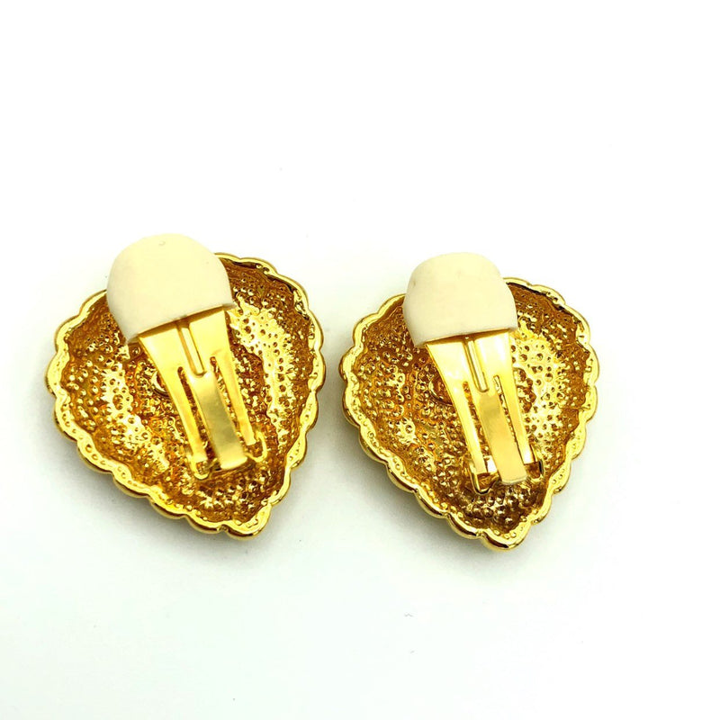 Escada Vintage Gold Puffy Heart Clip-On Earrings-Sustainable Fashion with Vintage Style-Trending Designer Fashion-24 Wishes