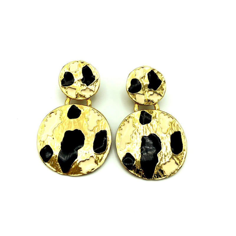 Vintage KOKO Black Enamel Animal Print Gold Earrings