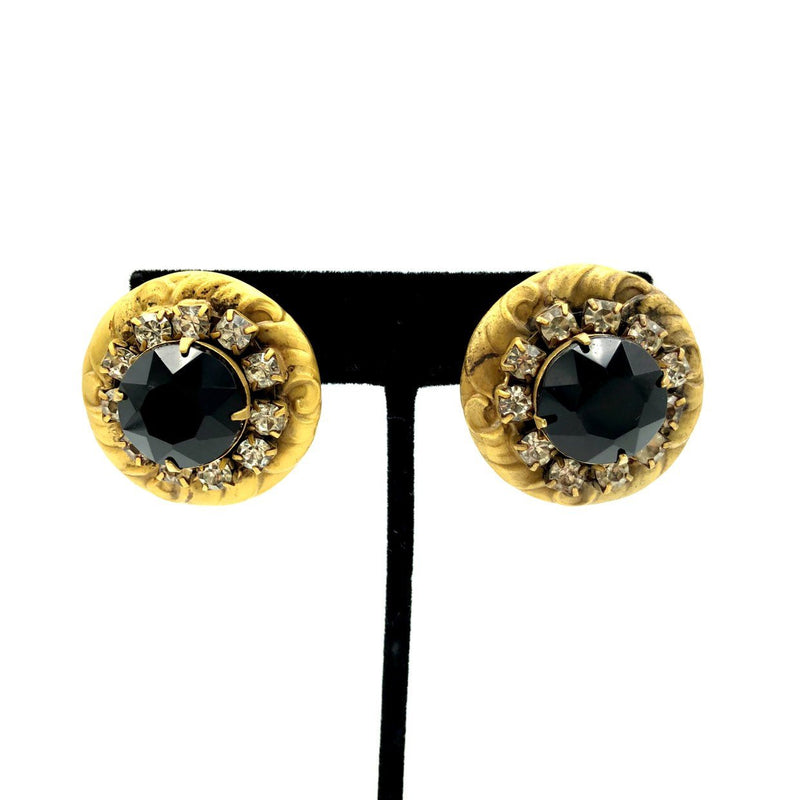 Sadie Green Antiqued Repousse Black Rhinestone Earrings
